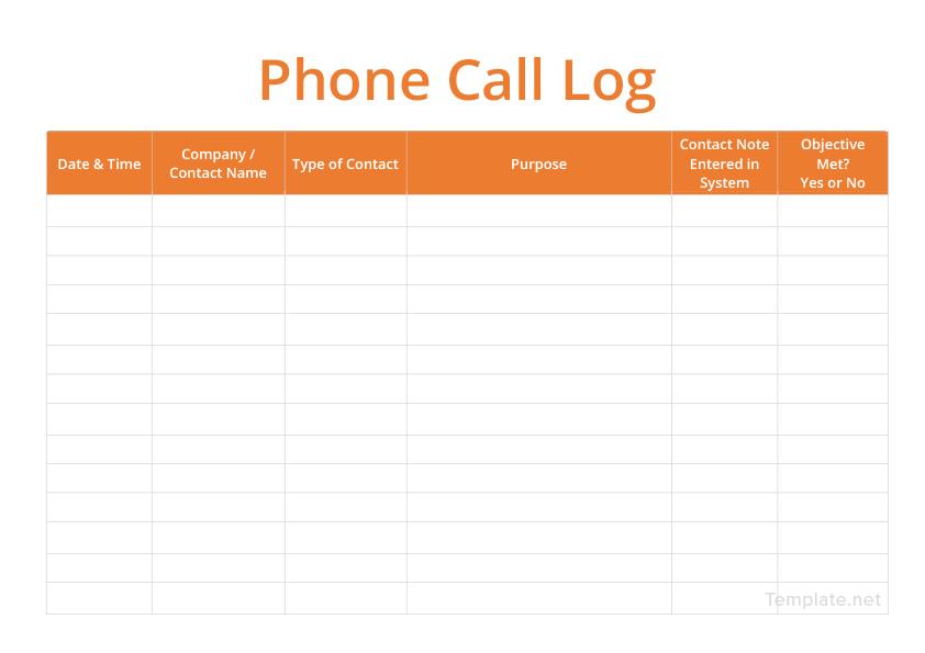 Call Log Template in Microsoft Word Templatenet