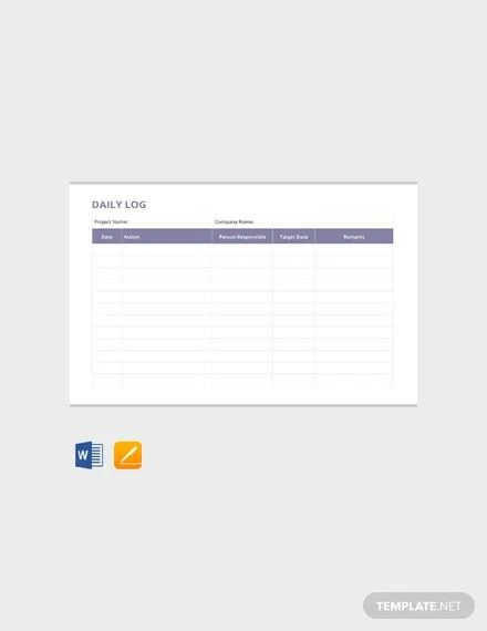 FREE Daily Log Template Download 484+ Sheets in Word, PDF, Apple