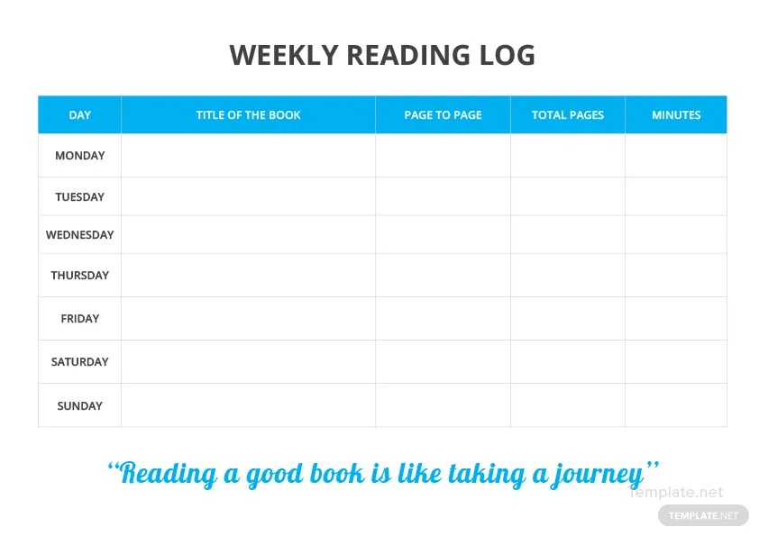 Weekly Reading Log Template in Microsoft Word, PDF, Apple Pages - Reading Log Template