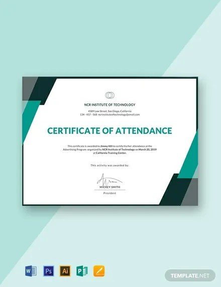 FREE Event Attendance Certificate Template Download 435+
