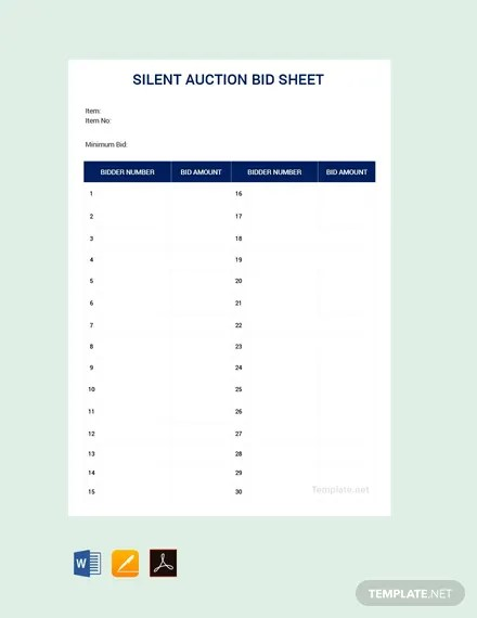 FREE Silent Auction Bid Sheet Template Download 530+ Sheets in Word