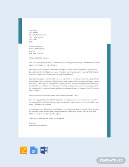 FREE Character Reference Letter for Immigration Template Download