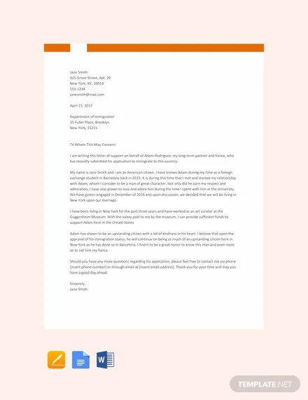 FREE Sample Relationship Letter for Immigration Template Download