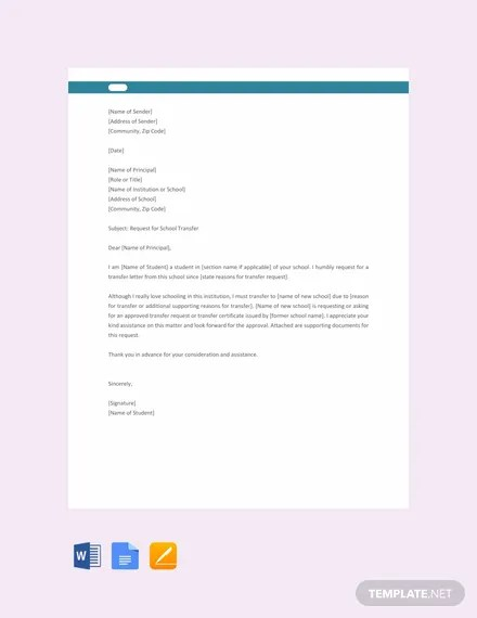 FREE School Transfer Letter to Principal Template Download 2191+