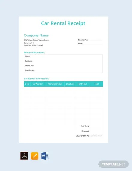 FREE Simple Car Rental Receipt Template Download 119+ Receipts in