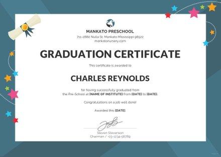 Free Preschool Graduation Certificate Template in PSD, MS Word - graduation certificate