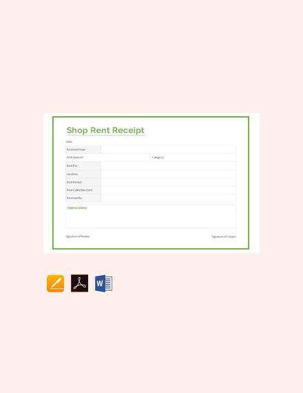 FREE Shop Rent Receipt Format Template Download 74+ Receipts in