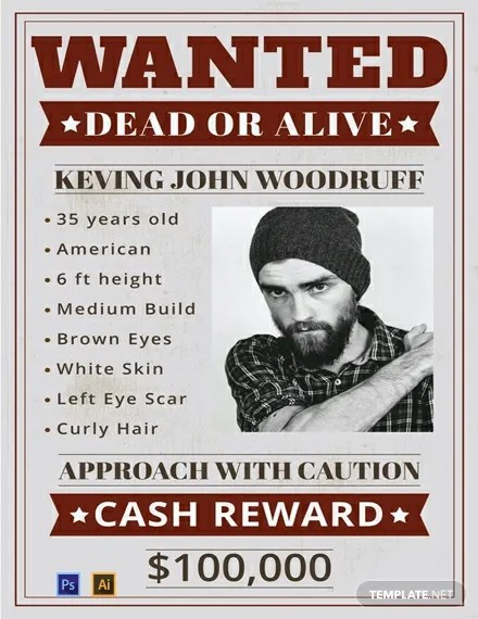 FREE Wanted Poster Template Download 185+ Posters in PSD