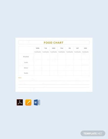 FREE Food Chart Template Download 175+ Charts in Word, PDF, Apple