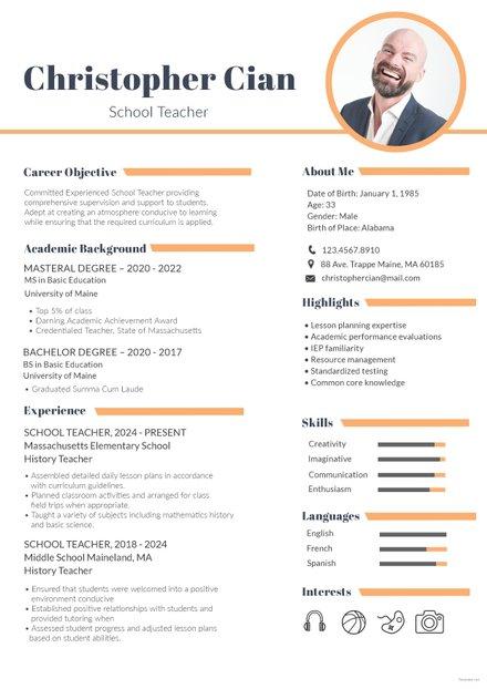 Free Experienced Accountant Resume Format Free Templates - sunday school teacher resume
