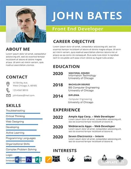 free frontend cv