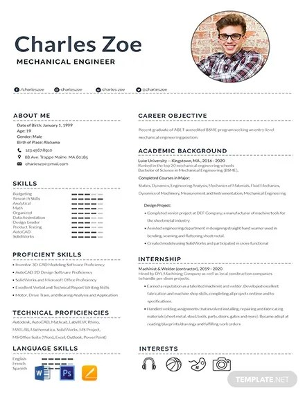 FREE Mechanical Engineer Fresher Resume Template Download 316+