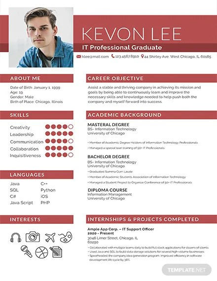93+ FREE Photo Resume Templates Download Ready-Made Templatenet
