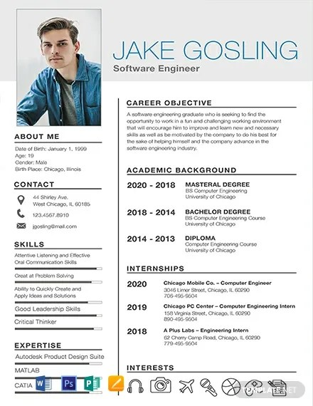 Sample Resume With Picture Template 18+ Free Simple Resume Templates - Word | Psd | Indesign