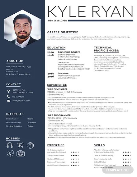 FREE Federal Resume and CV Template Download 200+ Resume Templates