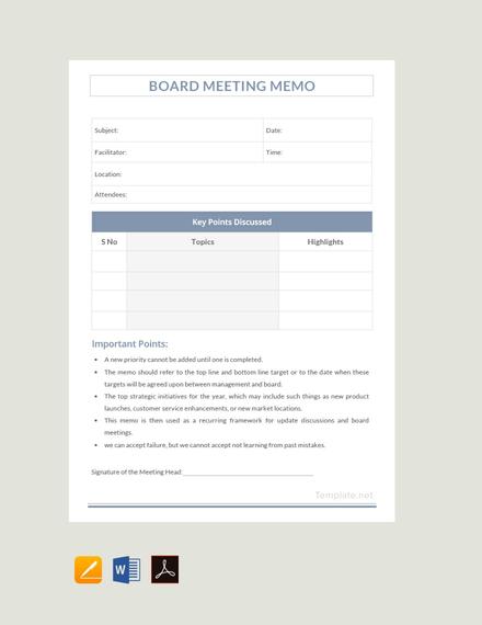 FREE Sample Board Meeting Memo Template Download 72+ Memos in Word