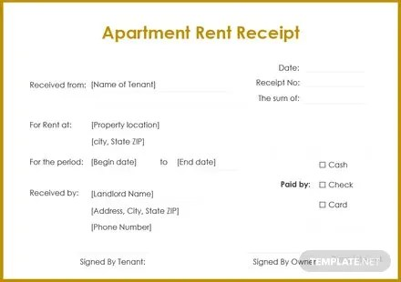 FREE Apartment Rent Receipt Template Download 74+ Receipts in