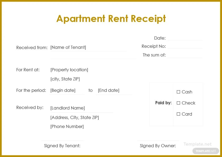 Apartment Rent Receipt Template in Microsoft Word Templatenet - apartment rent receipt