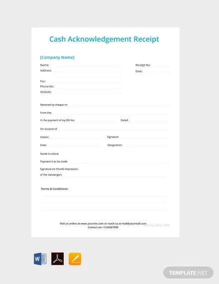 FREE Cash Acknowledgement Receipt Template Download 119+ Receipts
