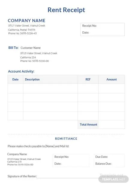 Free Rent Receipt Templates Download Ready-Made Templatenet