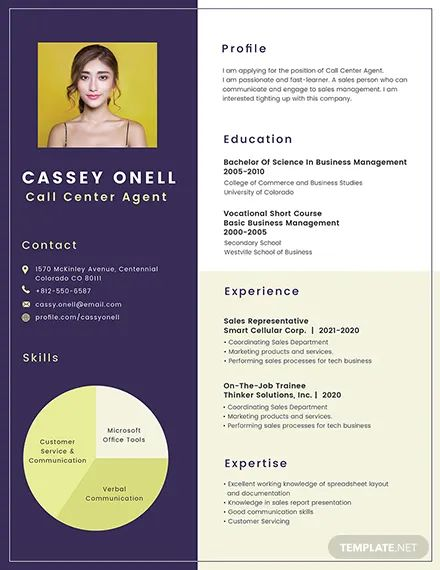 photoshop call center resume template