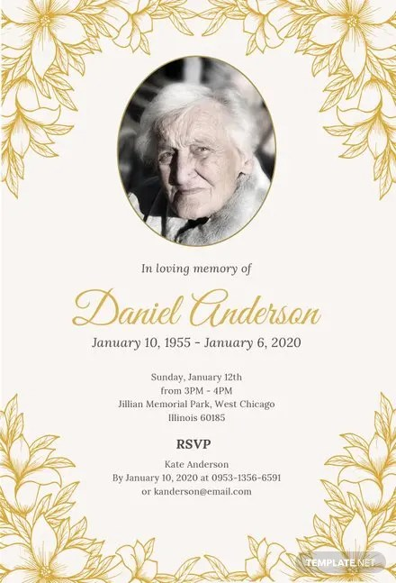 Free Simple Funeral Invitation Template in PSD, MS Word, Publisher - funeral invitation template