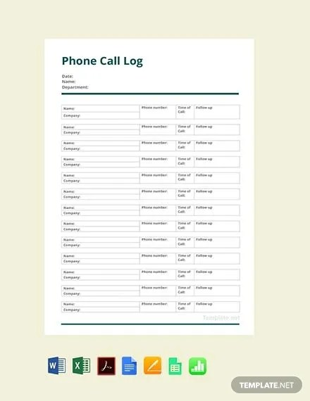 FREE Phone Call Log Template Download 525+ Sheets in Word, PDF