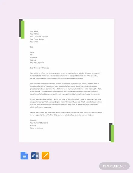FREE Maternity Leave Letter Template Download 2191+ Letters in Word