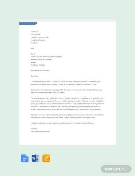 14+ FREE Leave Letter Templates Download Ready-Made Templatenet
