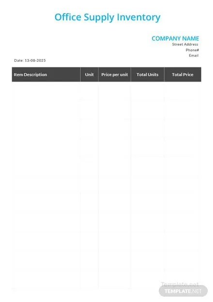 Office Supply Inventory Template in Microsoft Word, Apple Pages, PDF