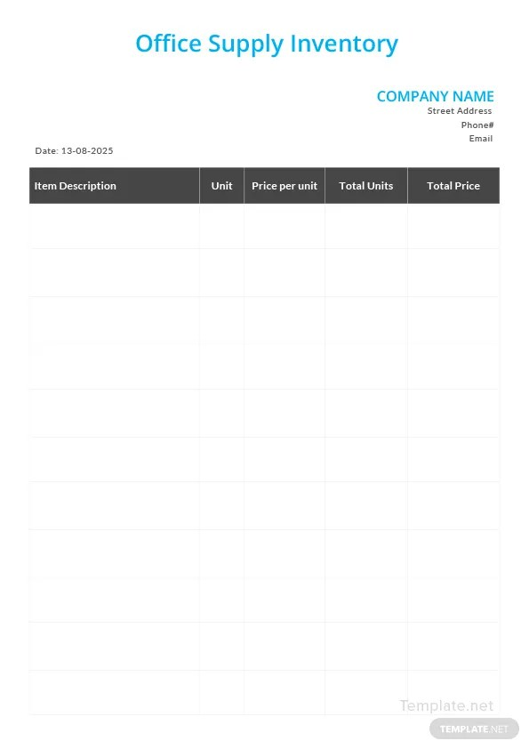 Office Supply Inventory Template in Microsoft Word Templatenet - office supply template