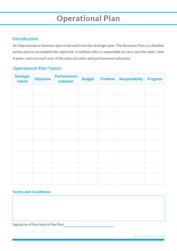Sample Operational Plan Template in Microsoft Word Templatenet