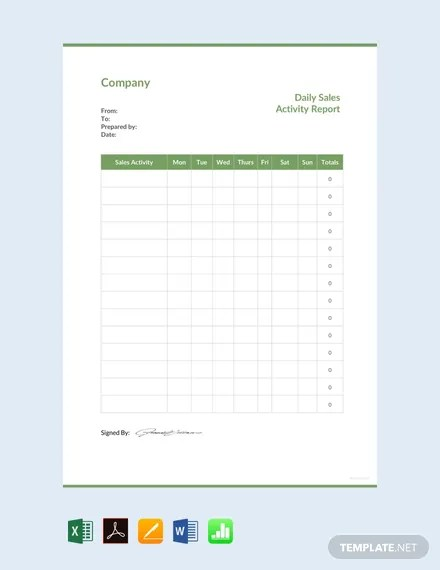 FREE Daily Sales Activity Report Template Download 458+ Reports in