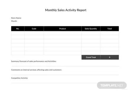 Monthly Sales Activity Report Template in Microsoft Word, Excel