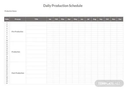 Daily Production Schedule Template Free Templates - daily production schedule template