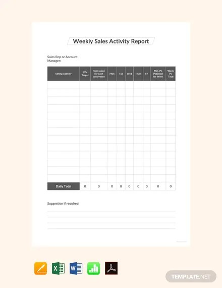 FREE Weekly Sales Activity Report Template Download 458+ Reports in