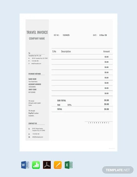 FREE Blank Travel Invoice Template Download 156+ Invoices in Word