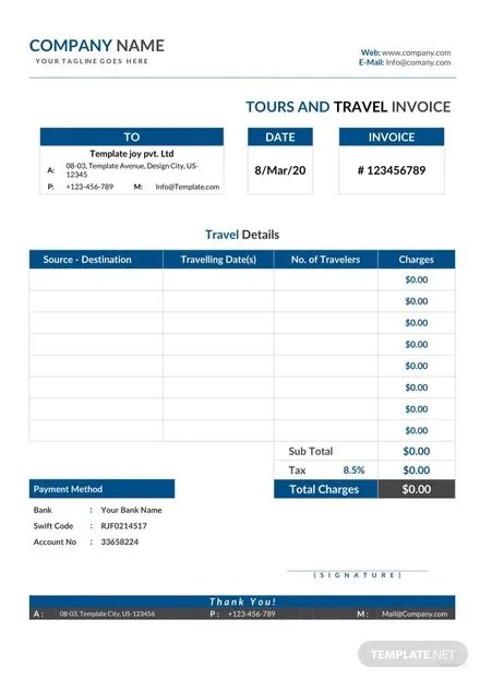 FREE Tour and Travel Invoice Template Download 156+ Invoices in