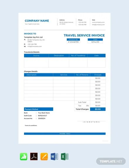 FREE Travel Service Invoice Template Download 156+ Invoices in Word