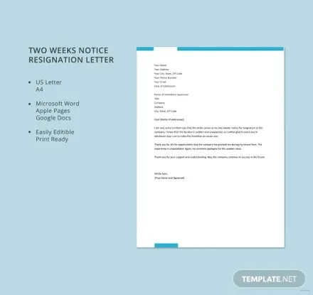 Free Two Weeks Notice Resignation Letter Template Free Templates