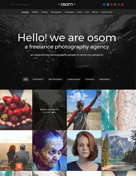 FREElance Photographer HTML5/CSS3 Website Template Download 157+