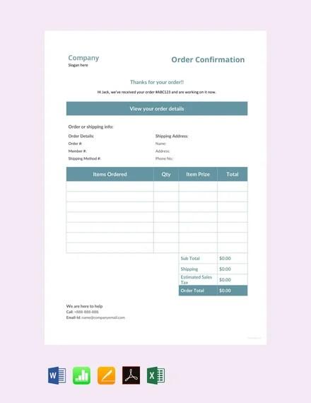 FREE Sample Order Confirmation Template Download 75+ Order