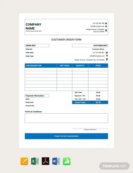 FREE Customer Order Form Template Download 131+ Forms in Word
