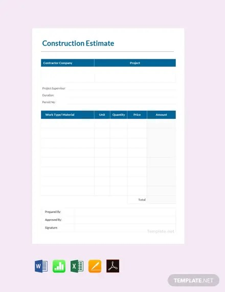 FREE Printable Construction Estimate Template Download 524+ Sheets