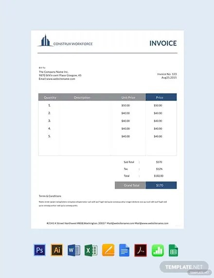 FREE Architecture Invoice Template Download 156+ Invoices in Word