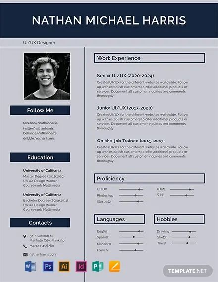 cv template free pages