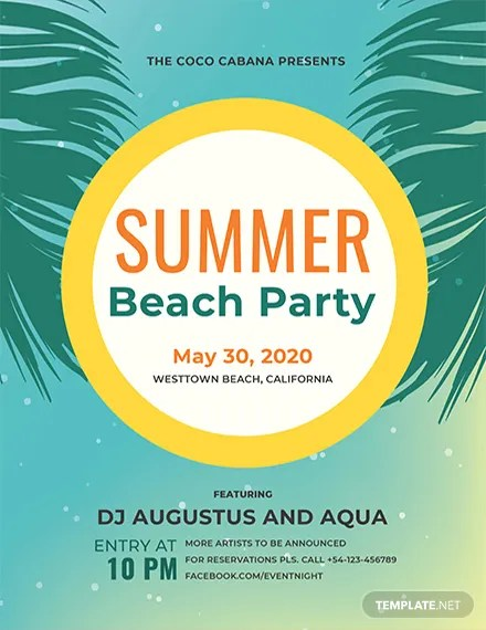Beach Party Flyer Template Download 416+ Flyers in PSD, Illustrator