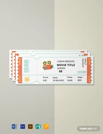 FREE Simple Movie Ticket Template Download 101+ Tickets in PSD