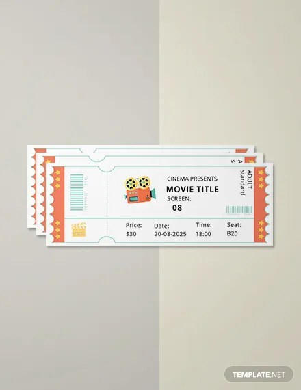 Free Simple Movie Ticket Template Download 57+ Tickets in PSD, Word