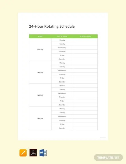 FREE 24 Hour Rotating Schedule Template Download 264+ Schedules in